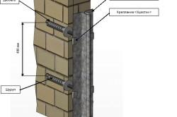Схема установки на откосы штукатурных маяков с креплением