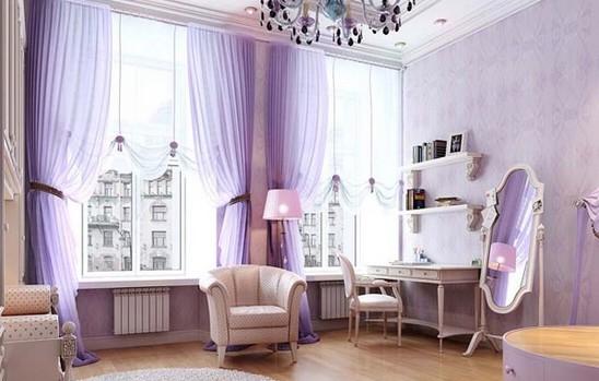 Фиолетовые шторы в спалье