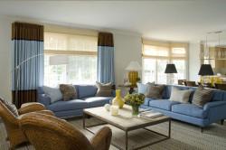 Стильная гостиная в сине-голубых тонах