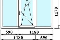 Размеры трехстворчатого  окна с открывающейся центральный частью