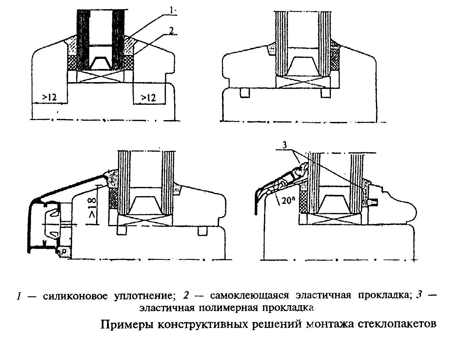 Примеры конструктивных решений монтажа стеклопакетов