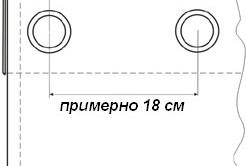 Схема примерного расстояния крепления люверсов