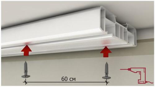 Схема установки гардины к потолку с помощью саморезов