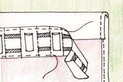 Схема крепления тесьмы к занавеске