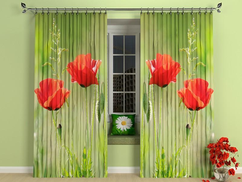 Шторы с изображением цветов