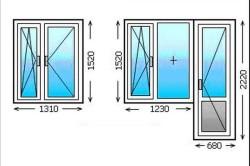 Размеры двухстворчатых  окон