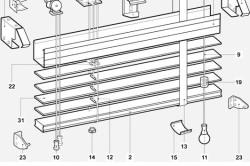 Перечень комплектующих для горизонтальных жалюзи с широкими ламелями
