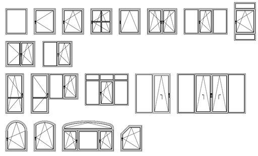 Конфигурации пластиковых окон