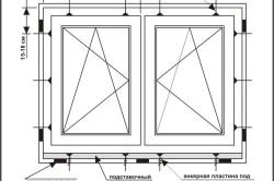 Схема крепления окна в проеме