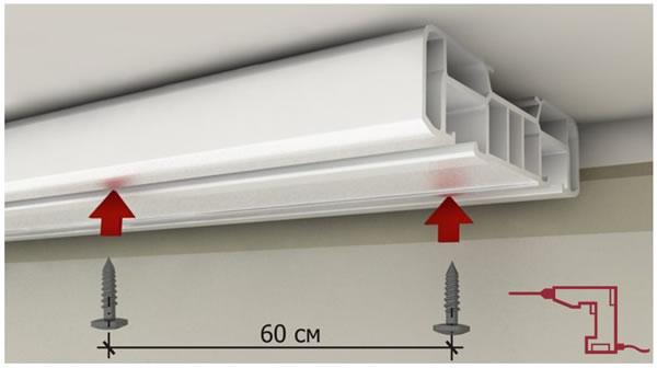 Схема крепления потолочного карниза для штор к потолку