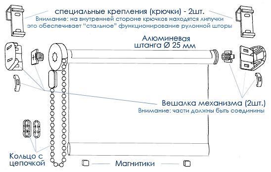 Схема крепления рулонных