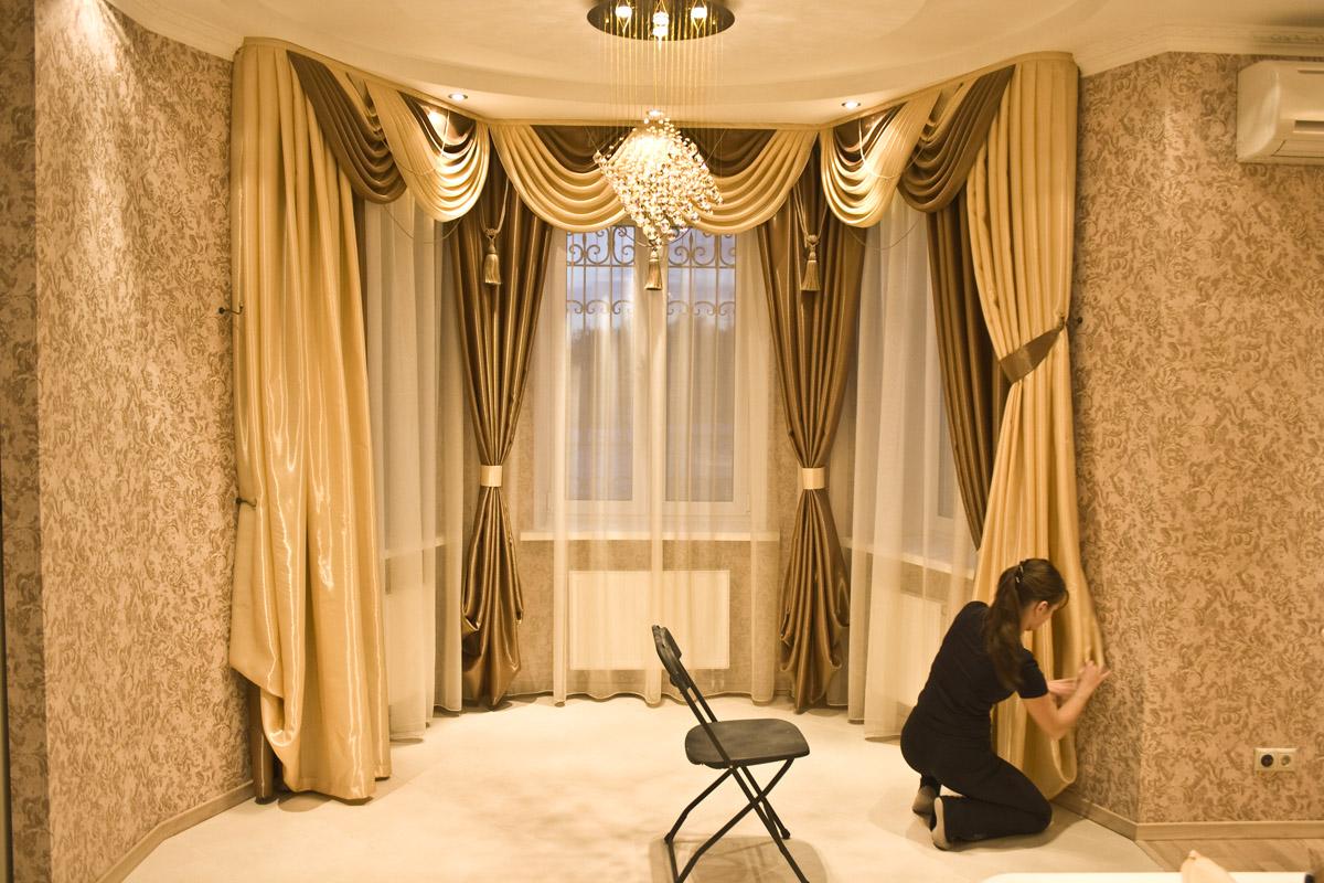 Дизайн гардин для зала