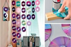 Процесс изготовления необычных штор из дисков